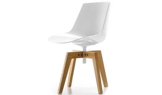 MDF Italia – Flow Chair 4-legged Oak Base by J. M. Massaud