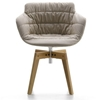 MDF Italia – Flow Armchair 4-legged Oak Base Padded-Marie Massaud